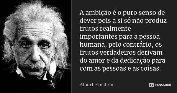 A ambição é o puro senso de dever pois a si só não produz frutos realmente importantes para a pessoa humana, pelo contrário, os frutos verdadeiros derivam do am... Frase de Albert Einstein.