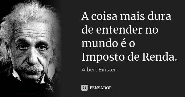 A coisa mais dura de entender no mundo é o Imposto de Renda.... Frase de Albert Einstein.
