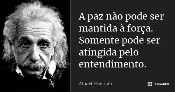 A paz não pode ser mantida à força. Somente pode ser atingida pelo entendimento.... Frase de Albert Einstein.