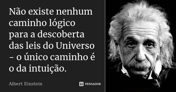 Não existe nenhum caminho lógico para a descoberta das leis do Universo - o único caminho é o da intuição.... Frase de Albert Einstein.