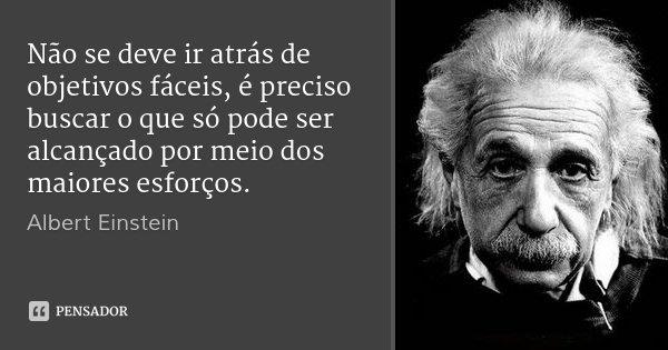 Não se deve ir atrás de objetivos fáceis, é preciso buscar o que só pode ser alcançado por meio dos maiores esforços.... Frase de Albert Einstein.
