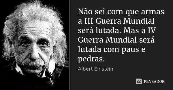 Não sei com que armas a III Guerra Mundial será lutada. Mas a IV Guerra Mundial será lutada com paus e pedras.... Frase de Albert Einstein.