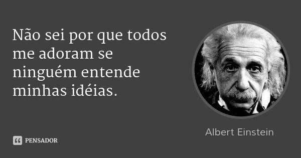 Não sei por que todos me adoram se ninguém entende minhas idéias.... Frase de Albert Einstein.