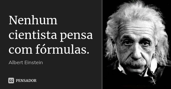 Nenhum cientista pensa com fórmulas.... Frase de Albert Einstein.