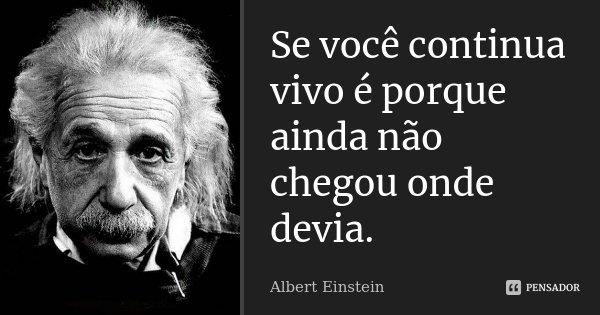 Se você continua vivo é porque ainda não chegou aonde devia.... Frase de Albert Einstein.