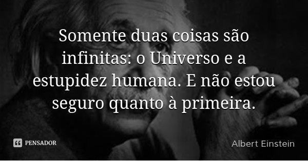 Somente duas coisas são infinitas: o Universo e a estupidez humana. E não estou seguro quanto à primeira.... Frase de Albert Einstein.