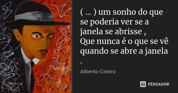 ( ... ) um sonho do que se poderia ver se a janela se abrisse , Que nunca é o que se vê quando se abre a janela .... Frase de Alberto Caeiro.