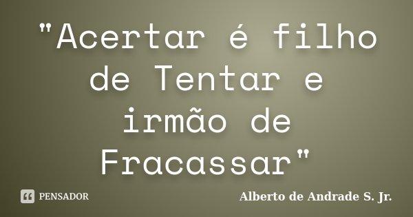 """""""Acertar é filho de Tentar e irmão de Fracassar""""... Frase de Alberto de Andrade S. Jr.."""