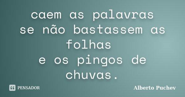 caem as palavras se não bastassem as folhas e os pingos de chuvas.... Frase de Alberto Puchev.