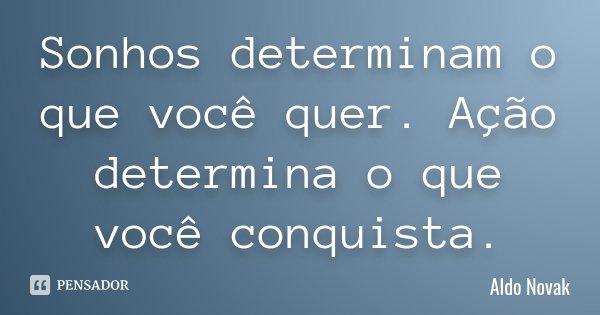 Sonhos determinam o que você quer. Ação determina o que você conquista.... Frase de Aldo Novak.