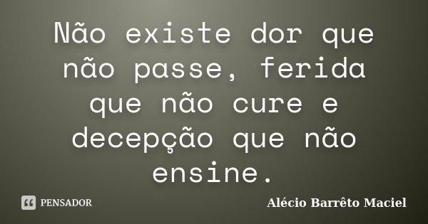 Não existe dor que não passe, ferida que não cure e decepção que não ensine.... Frase de Alécio Barrêto Maciel.