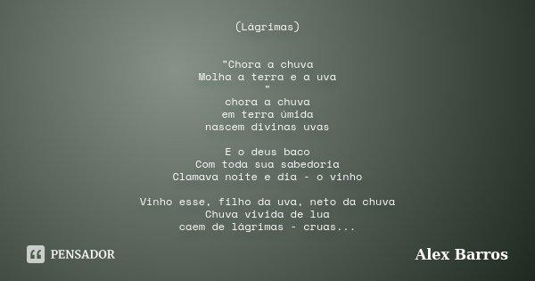 """(Lágrimas) """"Chora a chuva Molha a terra e a uva """" chora a chuva em terra úmida nascem divinas uvas E o deus baco Com toda sua sabedoria Clamava noite ... Frase de Alex Barros."""
