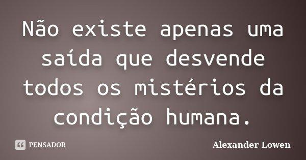 Não existe apenas uma saída que desvende todos os mistérios da condição humana.... Frase de Alexander Lowen.
