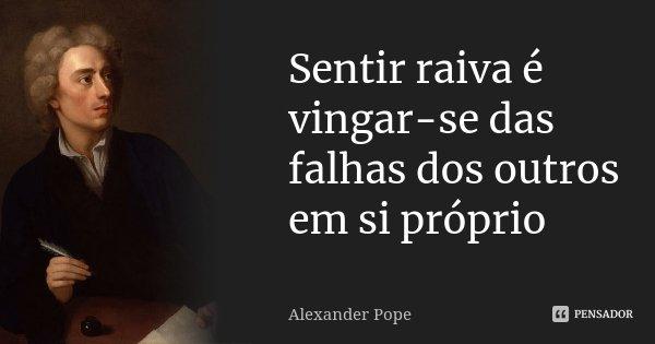 Sentir raiva é vingar-se das falhas dos outros em si próprio... Frase de Alexander Pope.