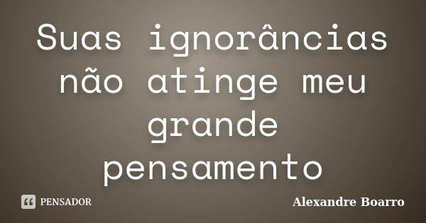 Suas ignorâncias não atinge meu grande pensamento... Frase de Alexandre Boarro.