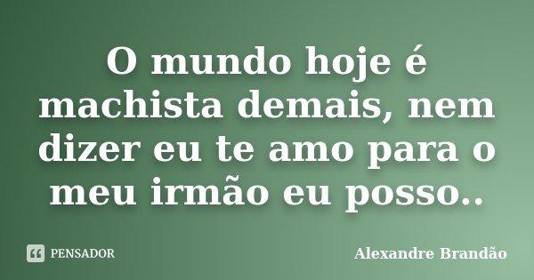 O mundo hoje é machista demais, nem dizer eu te amo para o meu irmão eu posso..... Frase de Alexandre Brandão.