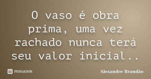 O vaso é obra prima, uma vez rachado nunca terá seu valor inicial..... Frase de Alexandre Brandão.