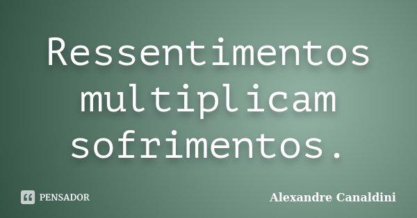 Ressentimentos multiplicam sofrimentos.... Frase de Alexandre Canaldini.