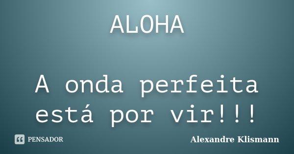 ALOHA A onda perfeita está por vir!!!... Frase de Alexandre Klismann.