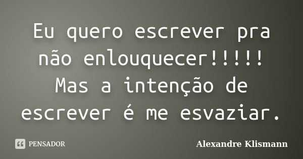 Eu quero escrever pra não enlouquecer!!!!! Mas a intenção de escrever é me esvaziar.... Frase de Alexandre Klismann.