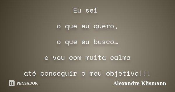 Eu sei o que eu quero, o que eu busco… e vou com muita calma até conseguir o meu objetivo!!!... Frase de Alexandre Klismann.