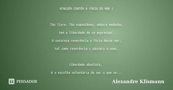 NINGUÉM CONTÉM A FÚRIA DO MAR ! Tão livre. Tão espontâneo, embora medonho, tem a liberdade de se expressar. A natureza reverência a fúria desse mar, tal como re... Frase de Alexandre Klismann.