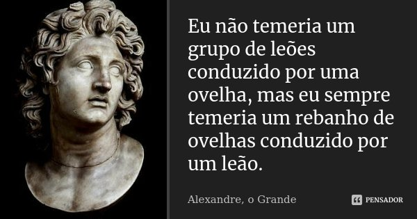 Eu Não Temeria Um Grupo De Leões Alexandre O Grande
