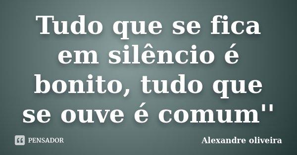 Tudo que se fica em silêncio é bonito, tudo que se ouve é comum''... Frase de Alexandre Oliveira.