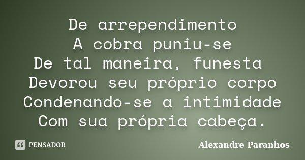 De arrependimento A cobra puniu-se De tal maneira, funesta Devorou seu próprio corpo Condenando-se a intimidade Com sua própria cabeça.... Frase de Alexandre Paranhos.