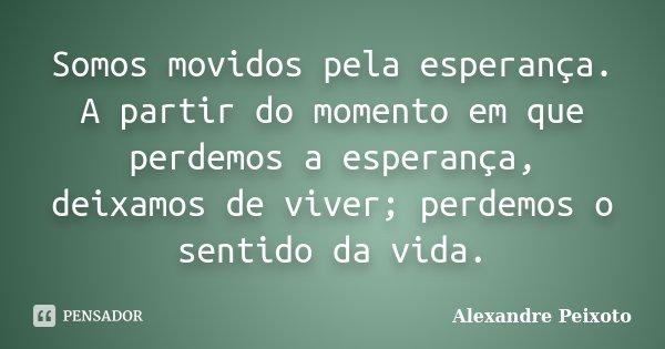 Somos movidos pela esperança. A partir do momento em que perdemos a esperança, deixamos de viver; perdemos o sentido da vida.... Frase de Alexandre Peixoto.