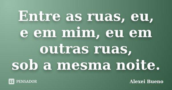 Entre as ruas, eu, e em mim, eu em outras ruas, sob a mesma noite.... Frase de Alexei Bueno.