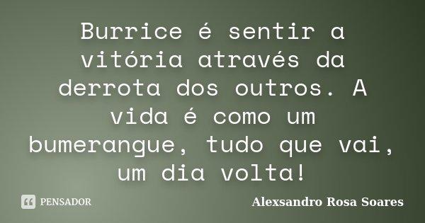 Burrice é sentir a vitória através da derrota dos outros. A vida é como um bumerangue, tudo que vai, um dia volta!... Frase de Alexsandro Rosa Soares.