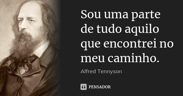 Sou uma parte de tudo aquilo que encontrei no meu caminho.... Frase de Alfred Tennyson.