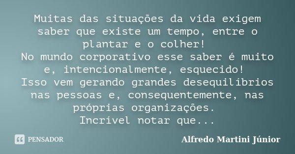 Muitas das situações da vida exigem saber que existe um tempo, entre o plantar e o colher! No mundo corporativo esse saber é muito e, intencionalmente, esquecid... Frase de Alfredo Martini Junior.