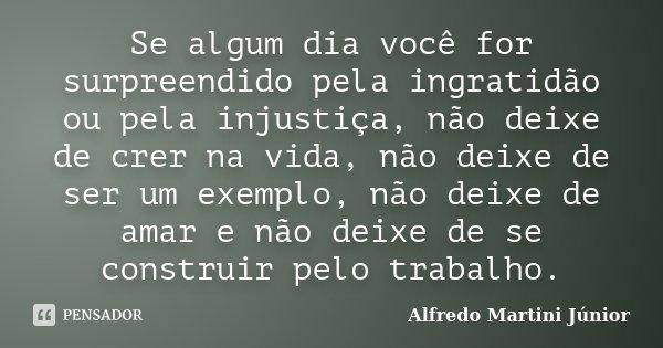 Se algum dia você for surpreendido pela ingratidão ou pela injustiça, não deixe de crer na vida, não deixe de ser um exemplo, não deixe de amar e não deixe de s... Frase de Alfredo Martini Júnior.