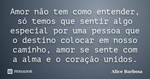 Amor não tem como entender, só temos que sentir algo especial por uma pessoa que o destino colocar em nosso caminho, amor se sente com a alma e o coração unidos... Frase de Alice Barbosa.
