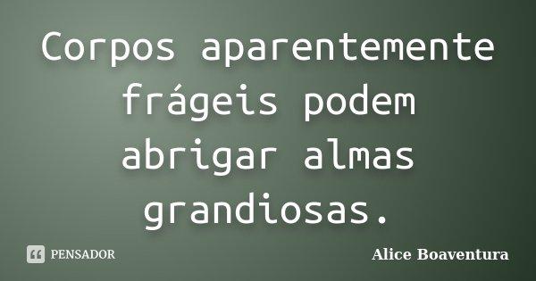Corpos aparentemente frágeis podem abrigar almas grandiosas.... Frase de Alice Boaventura.