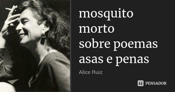 mosquito morto sobre poemas asas e penas... Frase de Alice Ruiz.