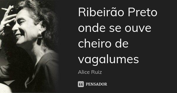 Ribeirão Preto onde se ouve cheiro de vagalumes... Frase de Alice Ruiz.