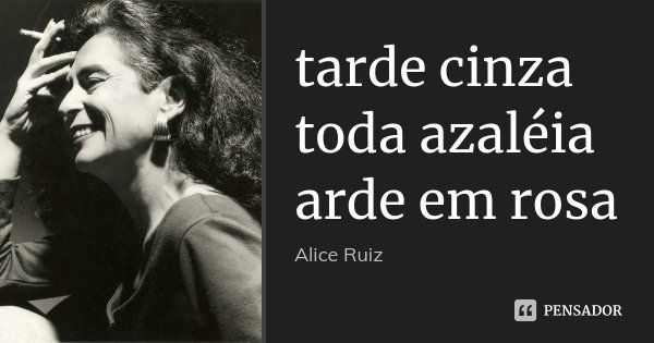 tarde cinza toda azaléia arde em rosa... Frase de Alice Ruiz.