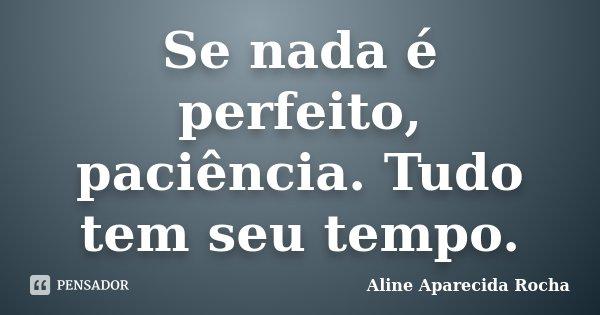 Se nada é perfeito, paciência. Tudo tem seu tempo.... Frase de Aline Aparecida Rocha.