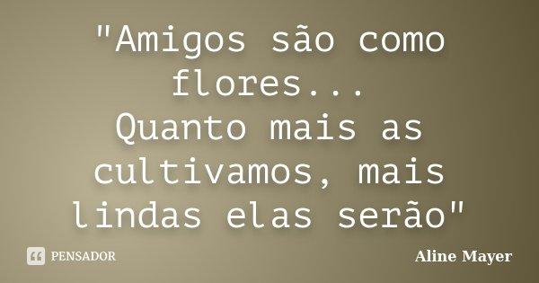 """""""Amigos são como flores... Quanto mais as cultivamos, mais lindas elas serão""""... Frase de Aline Mayer."""