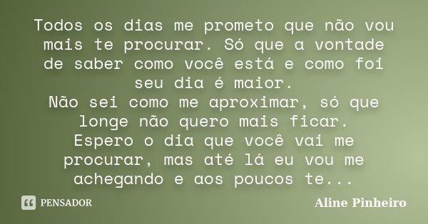 Todos os dias me prometo que não vou mais te procurar. Só que a vontade de saber como você está e como foi seu dia é maior. Não sei como me aproximar, só que lo... Frase de Aline Pinheiro.