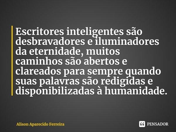 Escritores inteligentes são desbravadores e iluminadores da eternidade, muitos caminhos são abertos e clareados para sempre quando suas palavras são redigidas ... Frase de Alison Aparecido Ferreira.