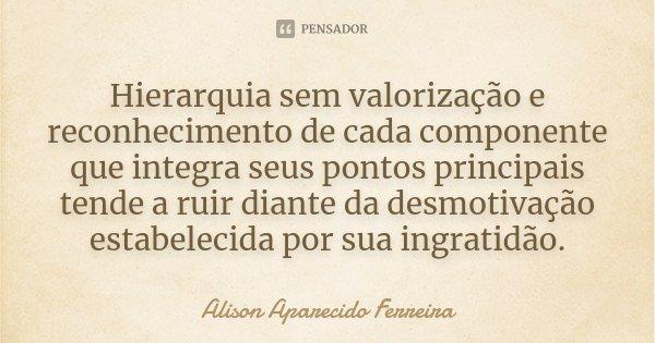 Hierarquia sem valorização e reconhecimento de cada componente que integra seus pontos principais tende a ruir diante da desmotivação estabelecida por sua ingra... Frase de Alison Aparecido Ferreira.