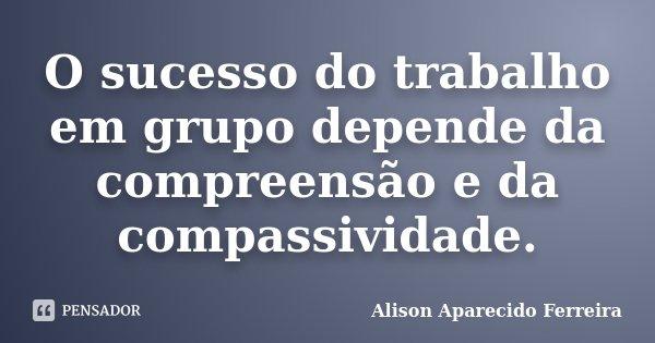 O sucesso do trabalho em grupo depende da compreensão e da compassividade.... Frase de Alison Aparecido Ferreira.