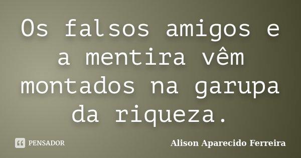 Os falsos amigos e a mentira vêm montados na garupa da riqueza.... Frase de Alison Aparecido Ferreira.