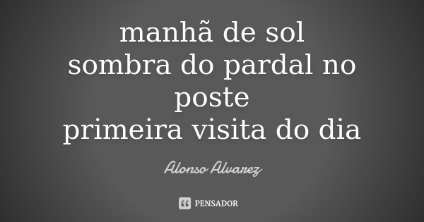 manhã de sol sombra do pardal no poste primeira visita do dia... Frase de Alonso Alvarez.