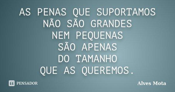 AS PENAS QUE SUPORTAMOS NÃO SÃO GRANDES NEM PEQUENAS SÃO APENAS DO TAMANHO QUE AS QUEREMOS.... Frase de Alves Mota.