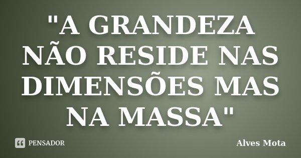 """""""A GRANDEZA NÃO RESIDE NAS DIMENSÕES MAS NA MASSA""""... Frase de Alves Mota."""